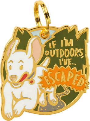 Primitives by Kathy If I'm Outdoors I Escaped Dog Metal Enamel Collar Charm