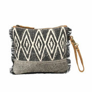 Myra Upcycled Grey Abstract Pouch Hairon Canvas Wristlet - Piglet's Closet