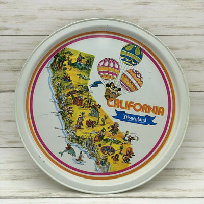 Vintage Walt Disney Disneyland Tray California Mickey Donald Tin Plate White - Piglet's Closet