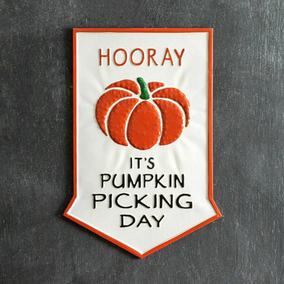 CTW Farmhouse Fall Pumpkin Picking Day Metal Arrow Shaped Wall Sign - Piglet's Closet