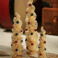 Bethany Lowe Designs Set of 3 Americana Twist Bottle Brush Trees Patriotic - Piglet's Closet