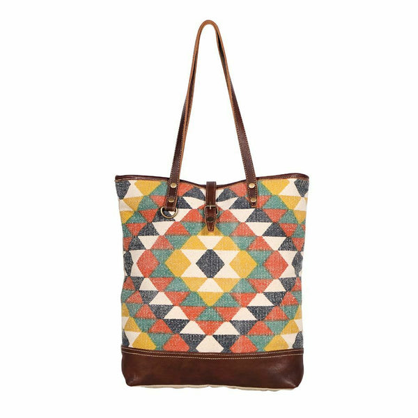 Myra Quirky Multicolored Canvas Tapestry Tote Bag Upcycled Purse - Piglet's Closet