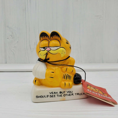 Vintage Enesco Garfield Ceramic You Should See The Other Truck Bandage Figurine - Piglet's Closet