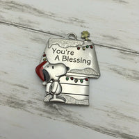 Hallmark Peanuts Snoopy & Woodstock Metal Doghouse You're A Blessing Ornament - Piglet's Closet