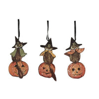 Bethany Lowe Halloween Owl Dummy Board Ornament Set of 3