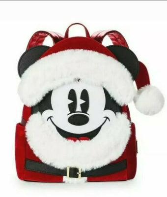 Disney Parks Santa Mickey Mouse Loungefly Red Mini Backpack - Piglet's Closet
