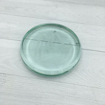 Vintage McDonald's Restaurant Paperweight Round Etched Clear Glass - Piglet's Closet