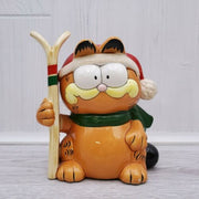 1981 Enesco Garfield the Cat Skiing Ceramic Bank Figurine - Piglet's Closet