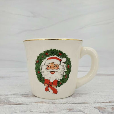 Vintage Santa in Wreath Ceramic USA Pottery Christmas Coffee Mug - Piglet's Closet
