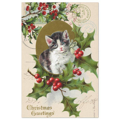 Kittie Christmas Vintage Decoupage Tissue Paper - Roycycled - Piglet's Closet