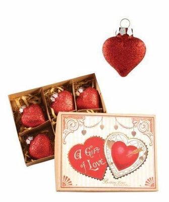 Bethany Lowe Valentine's Day Glass Red Glitter Heart Ornament Set of 6