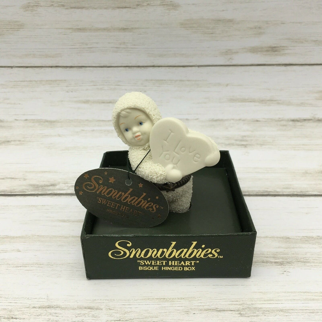 "Department 56 Snowbabies ""Sweet Heart"" Bisque Porcelain Hinged Box 68930 - Piglet's Closet"