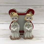 Vintage Enesco Japan Ceramic Choir Angels Spaghetti Trim Planter Figurine - Piglet's Closet