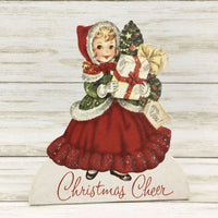 Bethany Lowe Designs Retro Christmas Cheers Girl Dummy Board