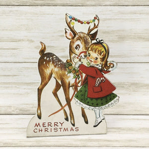 Bethany Lowe Designs Retro Christmas Friends Reindeer Girl Dummy Board