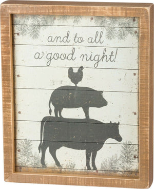"PBK Farmhouse ""And To All A Good Night!"" Stacked Farm Animals Wood Box Sign - Piglet's Closet"