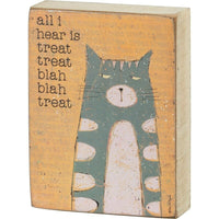 "Primitives by Kathy ""All I hear is Treat Treat"" Naughty Cat Wood Block Sign"