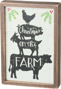 PBK Christmas on The Farm Farmhouse Primitive Wood Inset Box Sign - Piglet's Closet