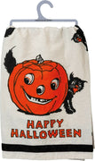PBK Halloween Black Cat and Jack O Lantern Kitchen Dish Towel - Piglet's Closet