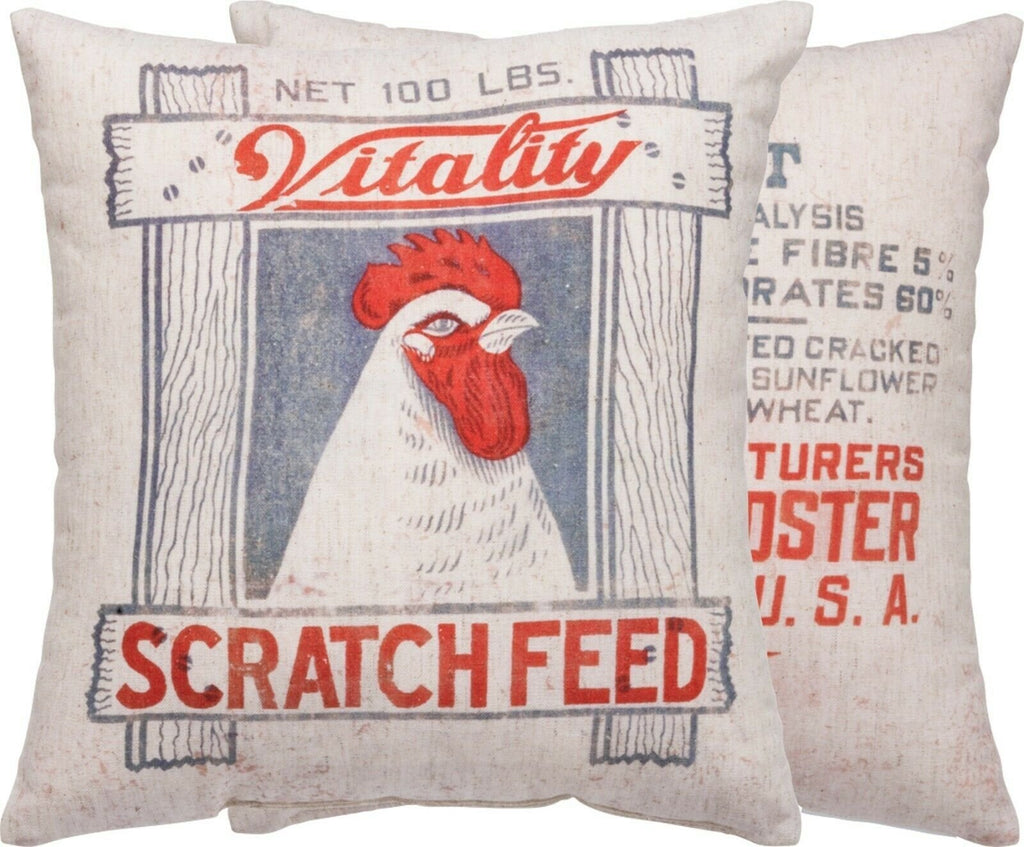 Primitives By Kathy Rustic Chicken Scratch Feed Farm House Pillow - Piglet's Closet
