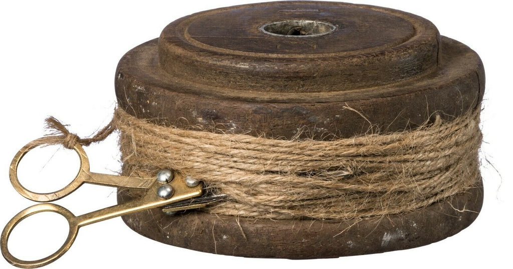 Primitives by Kathy Rustic Wood Flat Twine Spool with Scissors Decor - Piglet's Closet