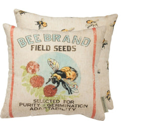 Primitives By Kathy Rustic Feed Sack Style Bee Brand Pillow - Piglet's Closet