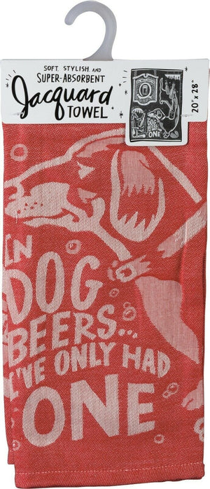 "Primitives By Kathy ""In Dog Beers I've Only Had One"" Red Dish Towel - Piglet's Closet"