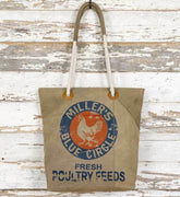 CTW Colonial Tin Works Feed Sack Primitive Farm Tote Market Bag - Piglet's Closet