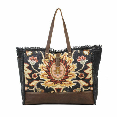 Myra Upcycled Canvas & Tapestry Black Fern Upcycled Weekender Bag Purse - Piglet's Closet