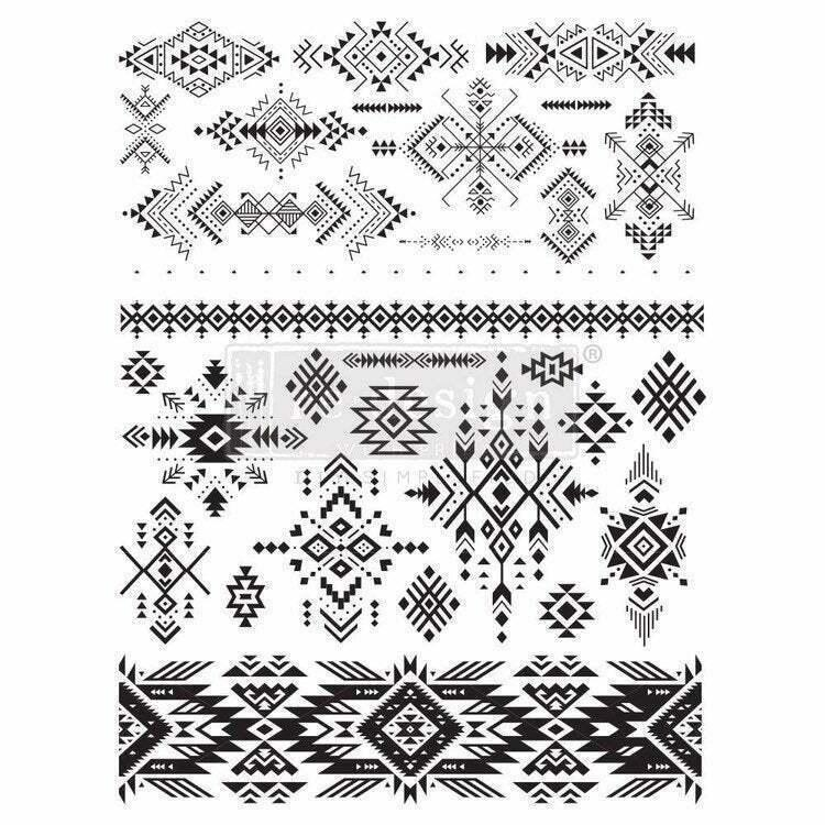 "Re-design Prima Black and White Folk I Decor Furniture Transfer 24"" x 33"""