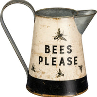 Primitives By Kathy Bees Please Small Tin Bumble Bee Farmhouse Pitcher - Piglet's Closet