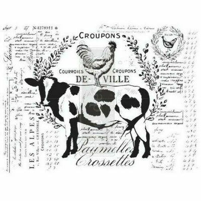 Re-design Prima Farm Delights Farmhouse Cow Decor Transfer 22