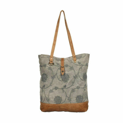 Myra Bags Splendiferous Upcycled Tapestry Canvas & Leather Tote Bag Purse - Piglet's Closet