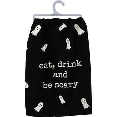 PBK Halloween Ghost Eat Drink Be Scary Black Kitchen Dish Towel