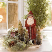 "Ragon House 10"" Red Belsnickle Santa with Silver Tinsel and Trees - Piglet's Closet"