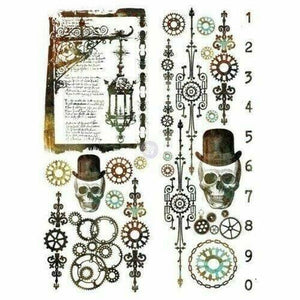 "Re-design Prima Steampunk Skull Furniture Decor Transfer 22"" x 30"" - Piglet's Closet"