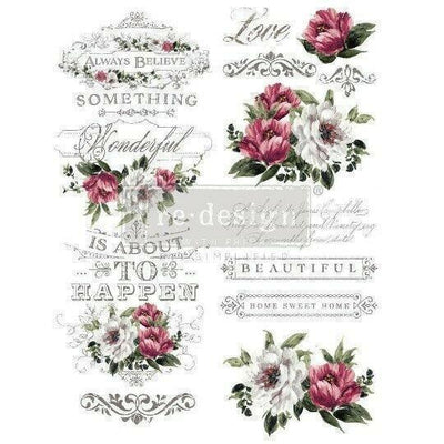 Re-design Prima Hopeful Wishes Floral Decor Furniture Transfer 22