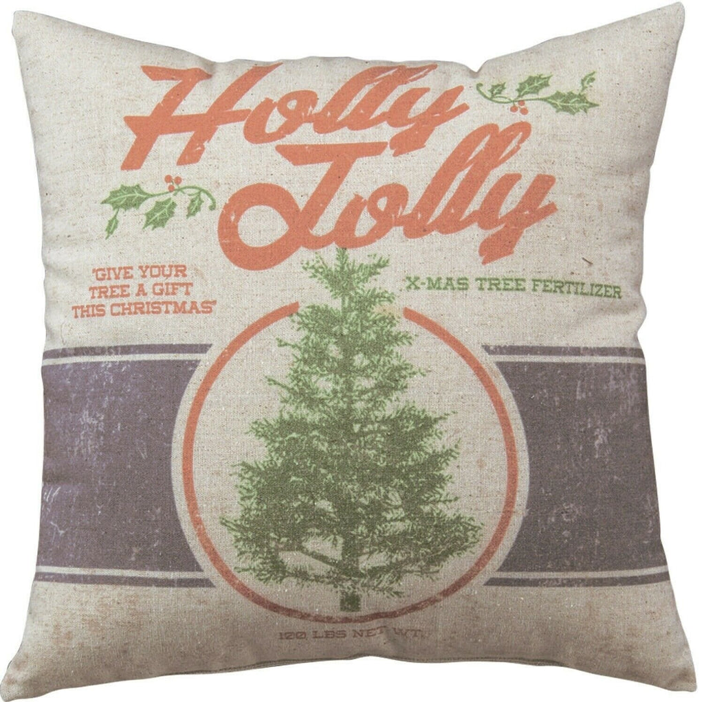 Christmas Holly Jolly Farmhouse Feed Sack Style Decorative Pillow - Piglet's Closet
