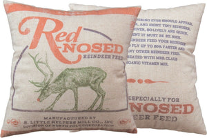 PBK Red Nosed Reindeer Retro Primitive Feed Sack Christmas Pillow - Piglet's Closet
