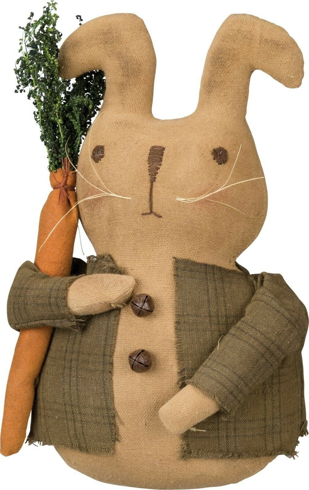 Primitives By Kathy Handsome Standing Bunny Rabbit Plush Sitter