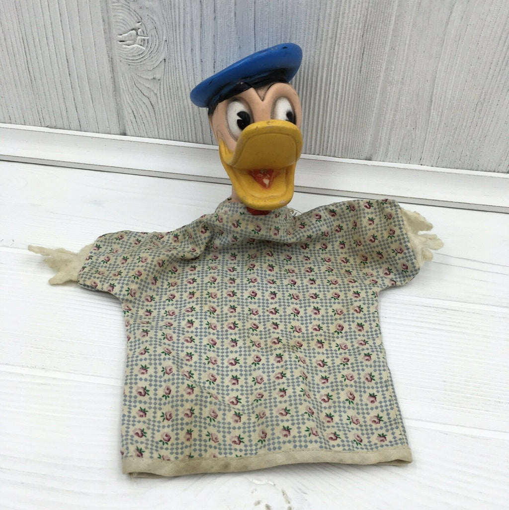 Vintage Walt Disney Productions Gund Donald Duck Hand Puppet Rubber Cloth - Piglet's Closet
