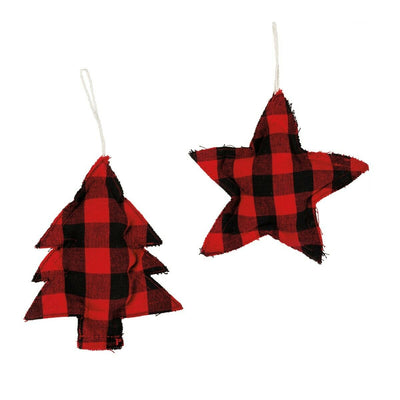 Farmhouse Christmas Buffalo Red Black Check Fabric Star Tree Ornament - Piglet's Closet