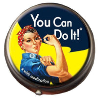 Rosie the Riveter Novelty Clasp Pill Box WE CAN DO IT!