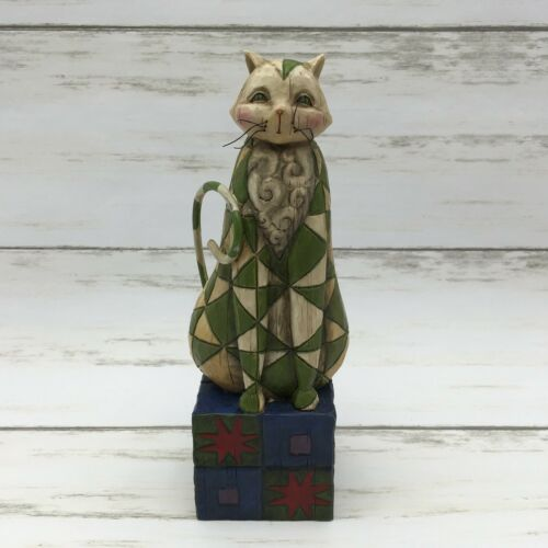 "2003 Jim Shore ""Felicity"" Green Cat Figurine #114423 Heartwood Creek - Piglet's Closet"