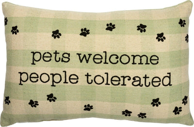 Primitives By Kathy Pets Welcome People Tolerated Green Plaid Throw Pillow - Piglet's Closet