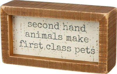Primitives By Kathy Second Hand Animals Make First Glass Pets Wood Sign - Piglet's Closet