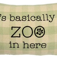 Primitives By Kathy Pets It's Basically a Zoo in Here Green Plaid Throw Pillow - Piglet's Closet
