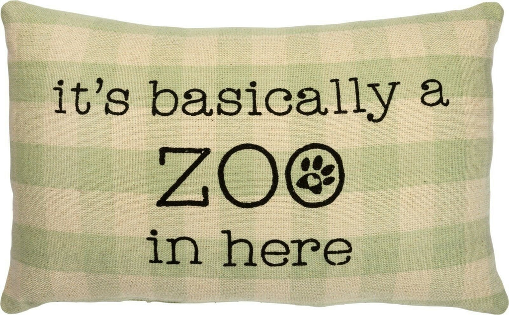 Primitives By Kathy Pets It's Basically a Zoo in Here Green Plaid Throw Pillow