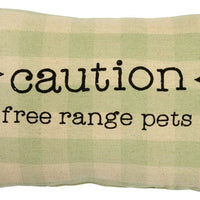 Primitives By Kathy Caution Free Range Pets Green Plaid Throw Pillow - Piglet's Closet
