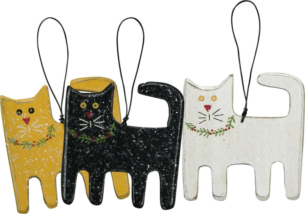 Primitives By Kathy Wood Christmas Cat MEOW Ornament Set of 3 - Piglet's Closet